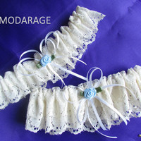 Garter, Wedding Garter, Garter Set, Bridal Garter, Bride Garter, Bridal Lingerie Garter, Something Blue, Ivory LACE Garter Set