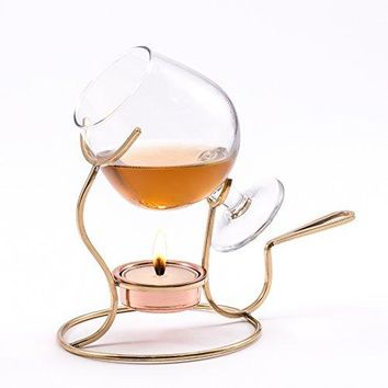 Old Dutch Brandy Warmer with Tea Light and Glass Snifter