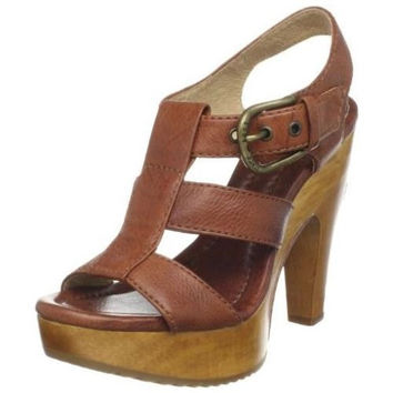Frye Tamara Brown Nappa Leather T Buckle High Heel Women' s 8 M