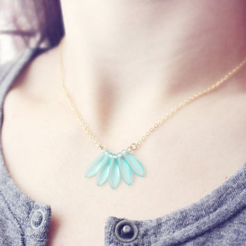 turquoise fan necklace  delicate tribal jewelry by PetiteCo