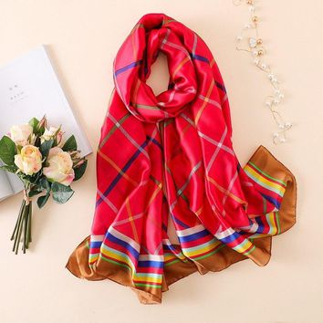 2018 Summer Luxury Brand Women Scarf Fashion Striped Print Silk Scarves Brand Design Plaid Shawls Wraps Long Bandana Foulard