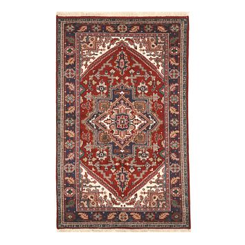 EORC Hand-knotted Wool Red Traditional Geometric Heriz Rug