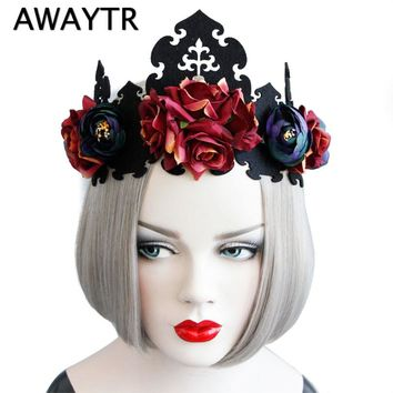 2017 Red Rose Flower Hairbands Queen Crown Headwreath Gothic Headbands Woman Party Hair Accessories Halloween Tiara Hairbands