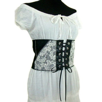 Leather & Lace Corset, Renaissance Waist Cincher, Upcycled Clothing, Faux Leather Corset, Reversible Unboned Corset, Cosplay, SCA, LARP