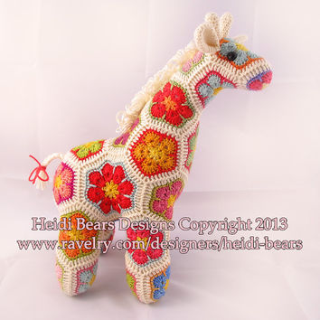 Jedi the Curious Giraffe African Flower Crochet Pattern