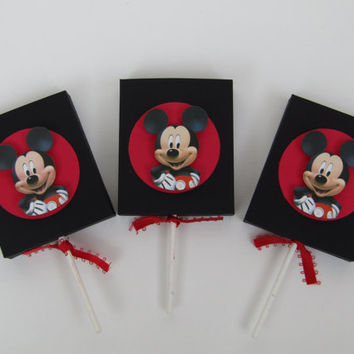 12 Mickey Mouse Lollipop Party Favor Cover - Candy Box - Treat Box - Mickey Mouse Boy Birthday Party Box - Mickey Mouse Classroom Favors