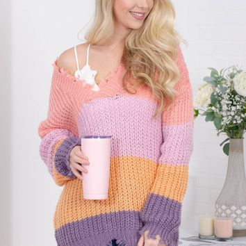 Pastel Rainbow Frayed Tunic Sweater