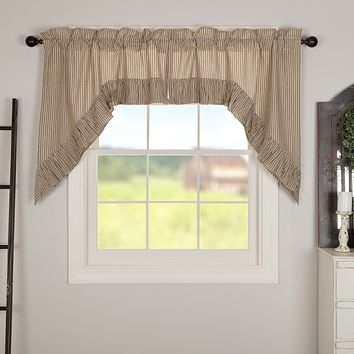 Owens Mill Ticking Stripe Swag Curtains