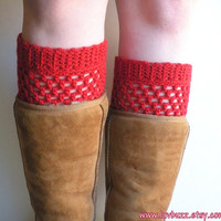 Crochet Red Wool Boot Cuffs, ready to ship.