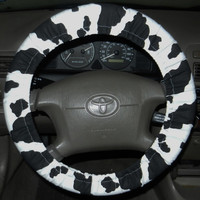 Cow Print Steering Wheel Cover, Cute Fun Cotton Car Wheel Cover, Made in USA,Girly Gift,Custom Car Accessory