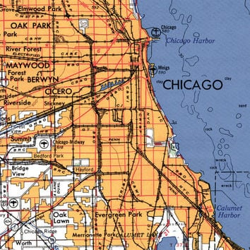 Chicago Art, Chicago Il, Chicago Poster, Map Art