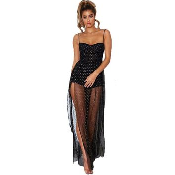 Sexy women dot long dresses fashion fake 2pcs sleeveless polka dot maxi dresses summer lace semi sheer transparent sundress