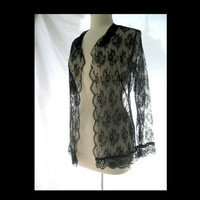 Vintage Sheer Black Lace Jacket by darlingtoniavintage on Etsy