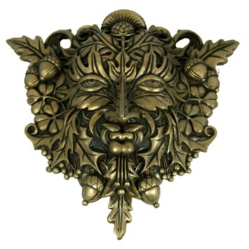 Celtic Faux Bronze Acorn and Clover Greenman Unique Wall Plaque
