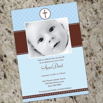 Pink or Blue and Brown Polka Dots - Cute Baptism/Christening Custom Announcements
