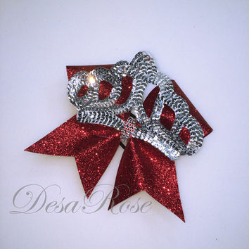 Princess Crown Cheer Bow with Glitter and Bling~ Red and Silver