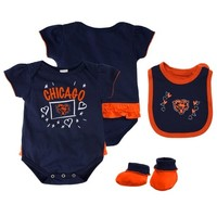 Chicago Bears Infant Girls Creeper, Bib and Bootie Set - Navy Blue