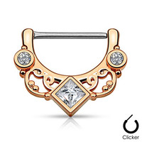 "Pair Body Jewelry 14ga (1.6mm) 1/2""(12mm) Nipple Bar Clicker Ring or Barbell Square and Round CZ gems Rose Gold over 316l Surgical Steel"