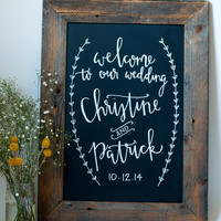 17x23 Chalkboard- Kitchen Chalkboard - Reclaimed Wood Framed - Wedding Chalkboard - Calligraphy