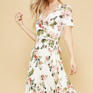 Floral Midi dress with Surplice front - Ivory