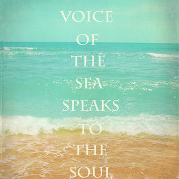 Beach Quote Art Print - Inspirational Aqua Tan Beach House Home Decor Wall Art Photograph