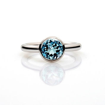 Engagement ring, Blue topaz ring, Silver ring, Blue, Silver engagement ring, Topaz, engagement ring topaz, promise ring, birthstone, bezel