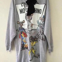 DCCKH3F Moschino RAT-PORTER Hooded Sweater Dress