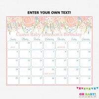 Due Date Calendar Floral Baby Shower Spring Flowers Shabby Chic Calendar Editable Instant Download Printable Pink Girl Custom Calendar SPFL
