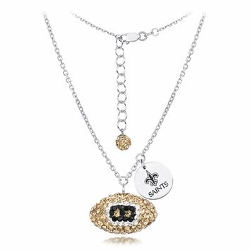 New Orleans Saints Silver and Crystal Necklace Jewelry. NFL Jewelry