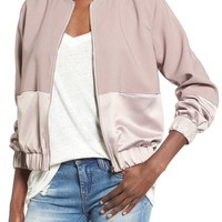 Missguided Satin & Faux Suede Bomber Jacket | Nordstrom