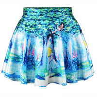 Fashion Women Retro Vintage Digital Print Alice In Wonderland Skater Skirt (Size: M)