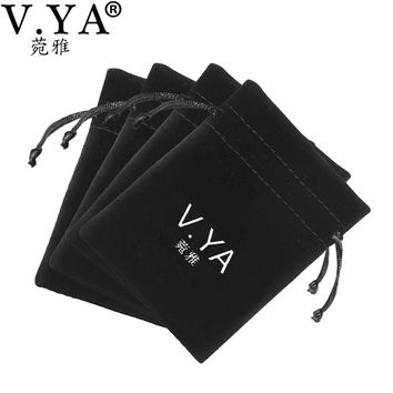 V.YA  Black Pouches Bag for Jewelry Packaging Fabric Pouches fit for Beads Charms Bracelets Necklaces Earrings