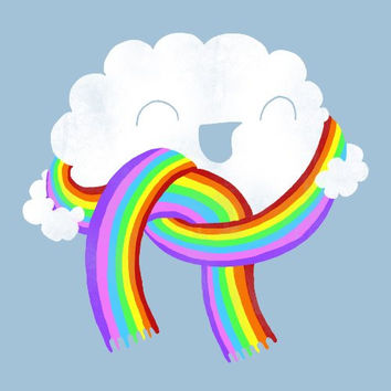 'Mr. Cloud's New Scarf' Funny Cloud w/ Face Wearing Rainbow Scarf - Vinyl Sticker