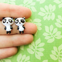 Panda earrings stud earrings animal jewelry black and white panda jewelry baby panda accessories earrings girls birthday gift cute jewelry