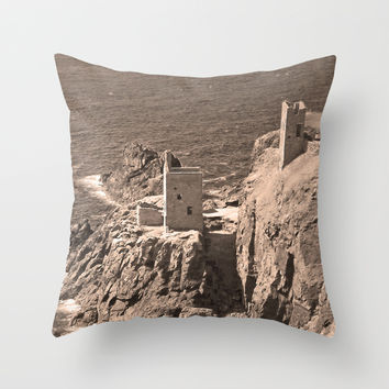 The Crowns Engine Houses Sepia Throw Pillow by Linsey Williams Photography