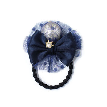 Ribbon ponytail holder, Pearl ponytail holders, Navy color, hair accessory, gold plated crown cubic, bun holder, fashion accessory