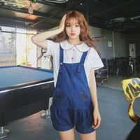Japanese Kawaii Cat Paws Denim Fashion Shorts Young Girl Summer Dolly Cute Blue Bib Overall Pants Solid Color Suspender Shorts