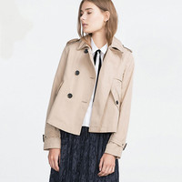 Double Breasted Badges Cuff Tabs Lapel Coat