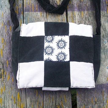 Black White Pentacle Pentagram Supernatural Patchwork Recycled Corduroy Purse