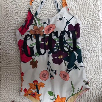 Floral GUCCI Bathing Suits One Piece Bikini Swimsuit Bodysuit