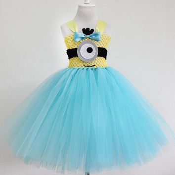 2016  New arrive minion tutu dress for baby girls children fashion minions clothes for birthday party dress baby girl tutu dress