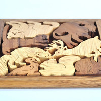 wooden puzzle, wooden toy, eco friendly handmade wood toy, educational toys, The Safari, Games & Puzzles, Board games, Christmas Gift.