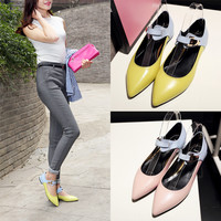 Summer With Heel Flat Leather Pointed Toe Shoes [4920625220]