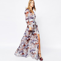 Deep V Neck Horse Print Swing Maxi Dress