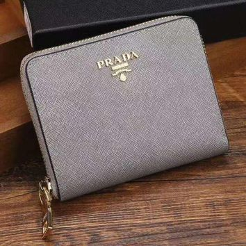 PEAPJ3V Prada Women Fashion Leather Zipper Wallet Purse-16