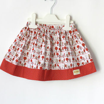 Red toddler skirt, Little trees skirt, Gathered skirt, baby skirt, red polka dot skirt