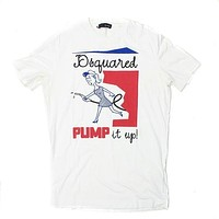 Dsquared Mens White Cotton Graphic TShirt Pump it Up
