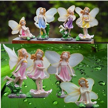 4PCS Resin Flower Fairies Collectibles Figurines Miniature Craft Statue Ornamrnt Home Garden Lawn Landscaping Decor Gifts