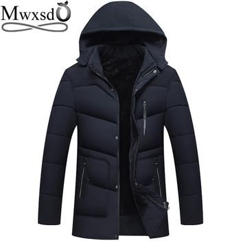 Mwxsd winter Men's Hooded warm thick Parka jacket Men warm fur jacket and coat for -20 degree male trench coat outwear