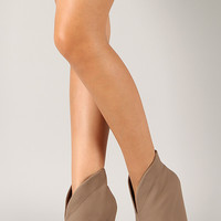 Qupid Obstacle-05 Nubuck Pointy Toe Wedge Bootie